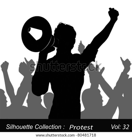 A Demonstrator Shouting Protests Through His Megaphone - stock vector