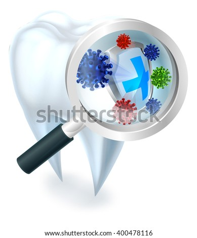 A dental illustration of a tooth protected from bacteria by a shield magnified by a magnifying glass - stock vector