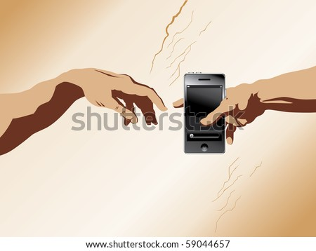 "A depiction of michaelangelo's ""Creation of Adam"" with a cell phone added - stock vector"