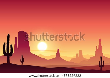 A Desert Landscape with Mountains and Sunset, Sunrise. - stock vector