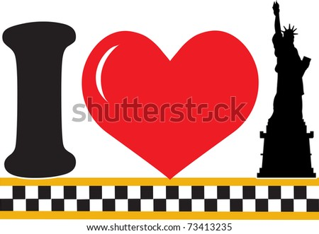 A design featuring a heart and the silhouette of the Statue of Liberty - stock vector