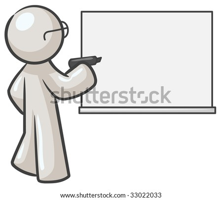 A design mascot with a dry erase board which is blank.