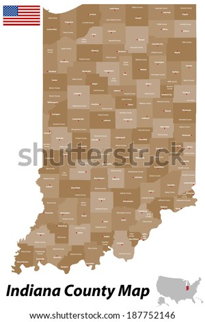 A detailed map of the State of Indiana with all counties and main cities. - stock vector
