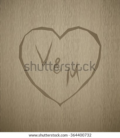 a detailed realistic structure of wood. Brown Color. Vintage. Valentines day. Monogram. Fits perfect for vintage and retro style or design. - stock vector