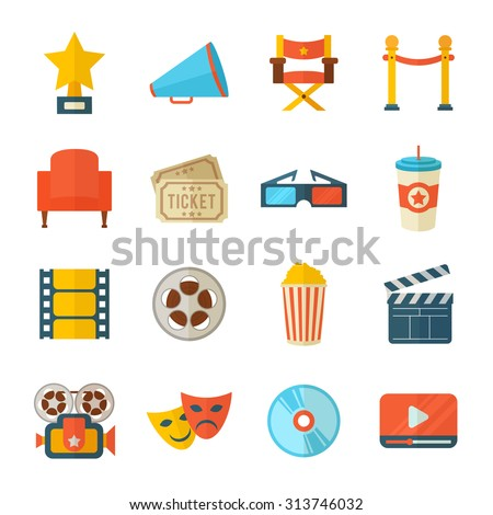 A detailed set of flat style cinema icons for web and design with movie symbols, 3D glasses, film reel, popcorn, tickets, web media - stock vector