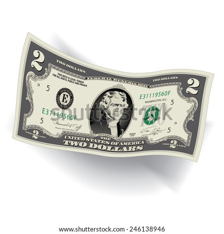A Detailed, Stylized Drawing of a 2 Dollar Bill - stock vector