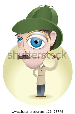 A detective searching for the smallest clues to solve the mystery with his magnifying glass. - stock vector