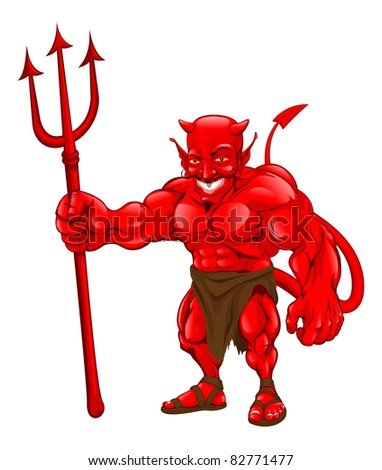 A devil cartoon character illustration standing with pitchfork - stock vector
