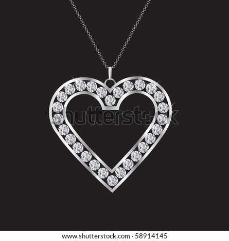 A diamond heart necklace isolated on black. EPS10 vector format. - stock vector