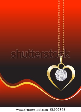 A diamond heart pendant on gold chain against red, abstract background. Space for your text. EPS10 vector format. - stock vector