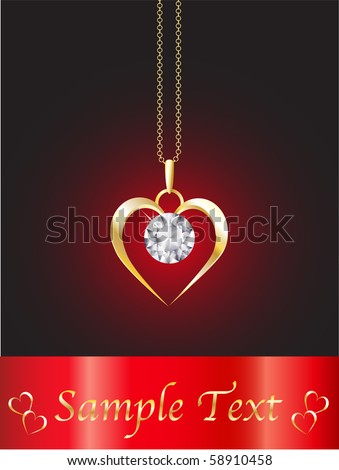 A diamond heart pendant on gold chain against red background. Space for your text. EPS10 vector format. - stock vector