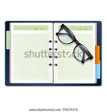 a diary and a glasses - stock vector