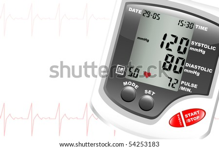 A digital blood pressure monitor against white with space for text. Heartbeat shown in red.