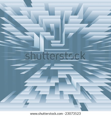 A digital technology background abstract of a structure of levels of blue planes. - stock vector