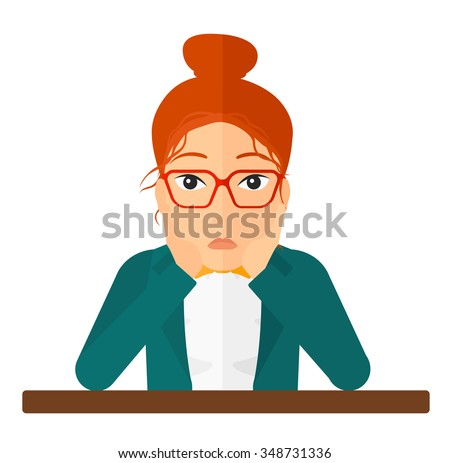 A disappointed young woman sitting at the table and clutching her head vector flat design illustration isolated on white background. Square layout. - stock vector