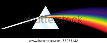 A dispersion prism illustration on a black background. Vector illustration.