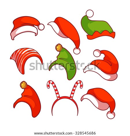 A diverse collection of Christmas hats.  Vector clip-art illustration. - stock vector