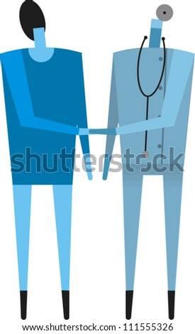A doctor shakes hands with his female patient - stock vector