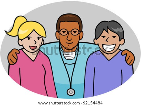 A doctor with his arms around two nurses, showing friendship/teamwork. - stock vector