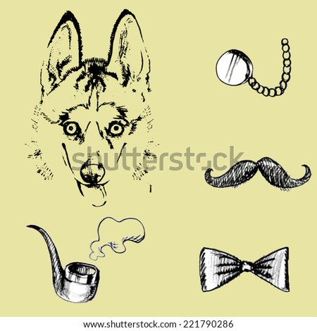 A dog and pipe, bow tie, glasses, mustache.vector - stock vector