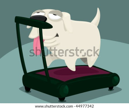 A dog doing exercises. - stock vector