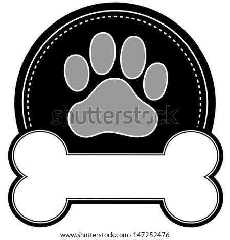A dog pawprint and dog bone with room for text in a circular design - stock vector