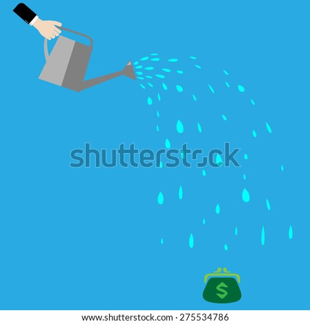 a dollar sign and a watering can.Flat design colorful vector illustration concept for investment, getting profit, earning money isolated on light background - stock vector
