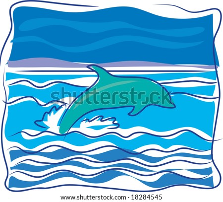 A dolphin jumping out of the waves on an ocean