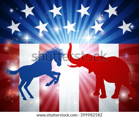A donkey and elephant in silhouette attacking at each other. Mascot animals of American democratic and republican parties, concept for the presidential election debate or politics in general - stock vector