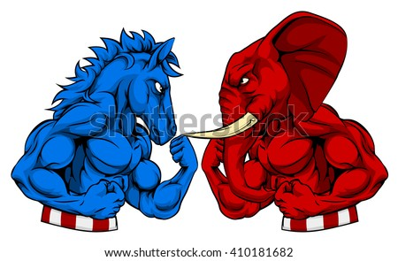 A donkey and elephant squaring of for a fight or boxing match. Symbols of the Democratic and Republican parties, politics American election concept - stock vector