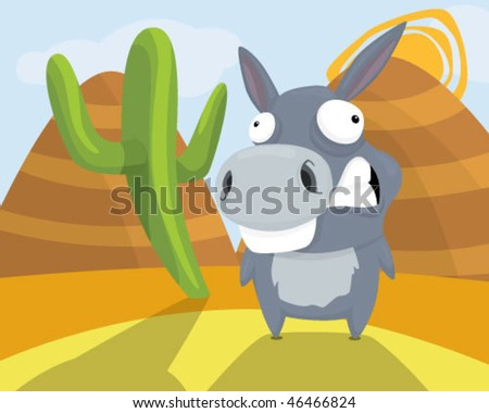 A donkey in a valley. - stock vector