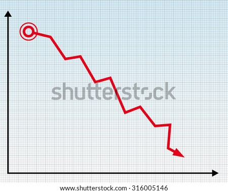 a down trend graph diagram vector illustration with a red line - stock vector
