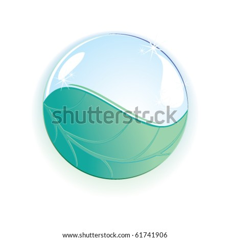 a drop on a leaf - stock vector