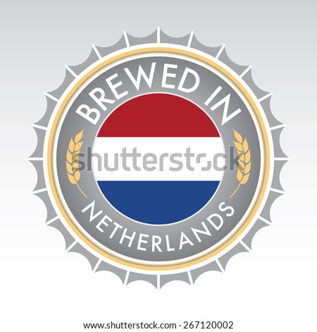 A Dutch beer cap crest in vector format. The bottle cap features the Dutch flag flanked by two golden wheat icons. - stock vector