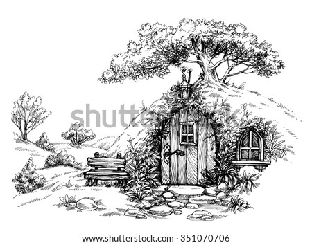 A dwarf house in the woods sketch - stock vector