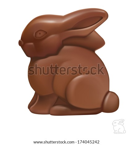 A Easter chocolate bunny isolated on a white background. Vector illustration. Realistic. Face side. Rabbit. Print quality. Detailed. - stock vector