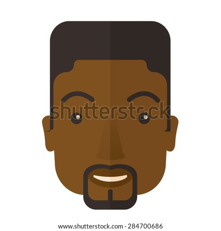 A face of a happy and good looking black guy with his hairstyle. A Contemporary style. Vector flat design illustration isolated white background. Square layout - stock vector