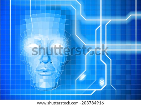 A face technology background abstract concept of a blue face emerging from an electronic grid  - stock vector