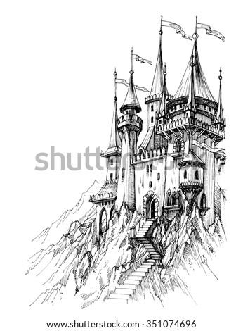 A fairytale castle in mountains - stock vector