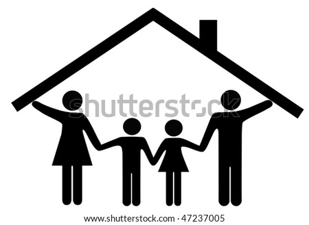 A family at home under one roof as mom and dad hold up the roof over the kids. - stock vector