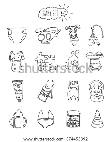 A family-friendly hotel of icons and elements. Set of children's items, accessories and toys hand drawn elements / doodles isolated on white background. Vector illustration - stock vector
