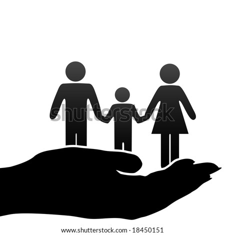 A family of mother, father, child symbols are held in a cupped hand. - stock vector