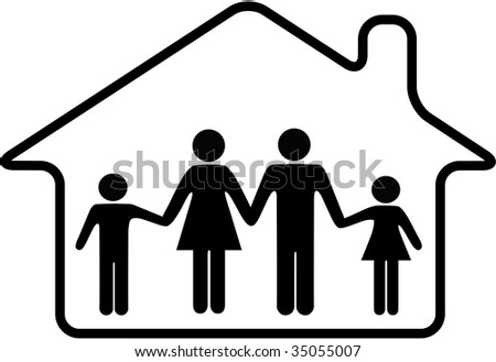 A family of parents and children are safe inside a rounded home symbol. - stock vector
