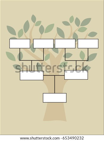 Family Tree Diagram On Vintage Style Stock Vector 653490232