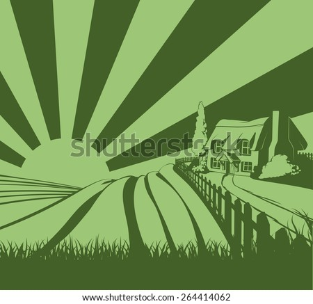 A farm house thatched cottage in an idyllic landscape of rolling hills and sunrise in the background - stock vector