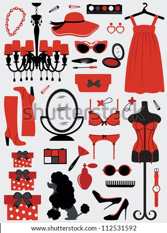 A fashion women accessories collection - stock vector