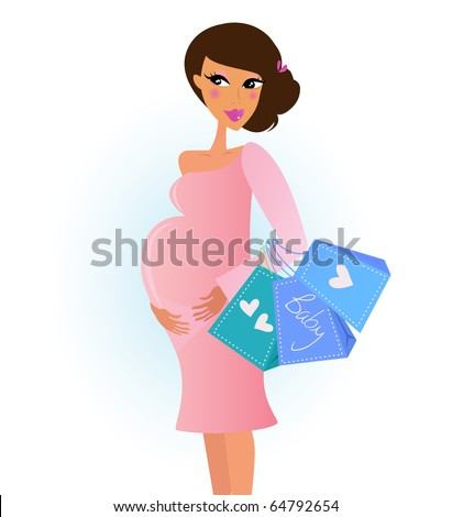 A fashionable pregnant woman in pink with shopping bags. Vector Illustration. - stock vector