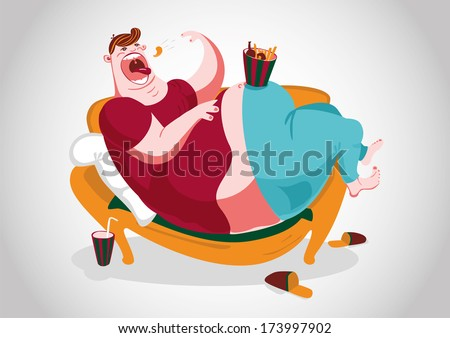 A fat man lying on the sofa and eating snacks.  - stock vector