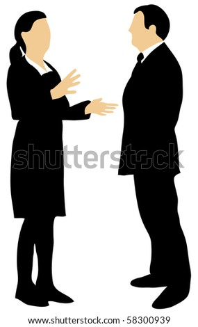 A female and male businessman talking to each other, the woman gesticulating with her hands. - stock vector