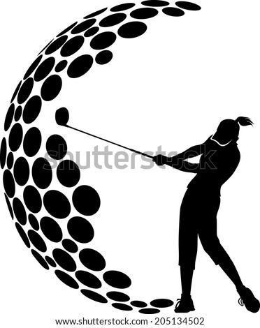 a female golfer combined with the dimples of a golf ball to form a G. - stock vector